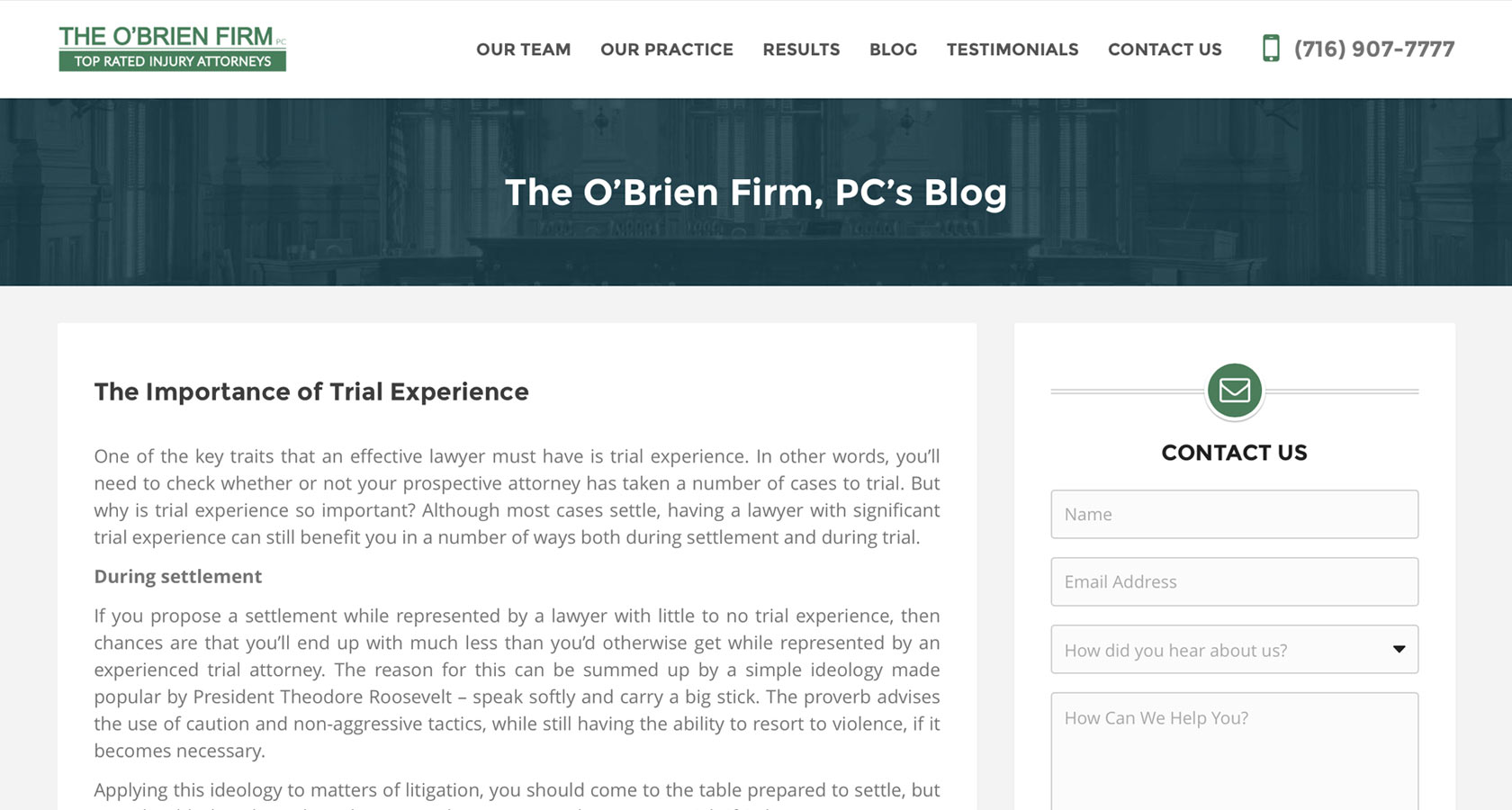 O'Brien Blog Screenshot